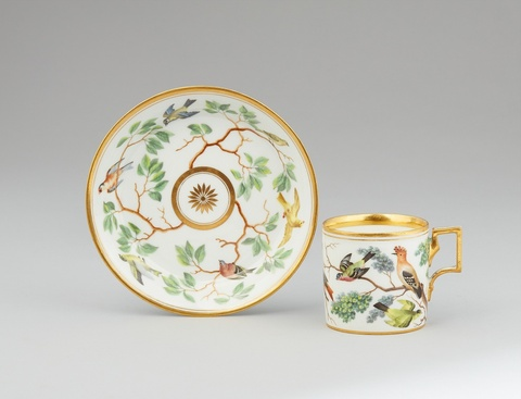 A Vienna porcelain cup and saucer with Continental birds -