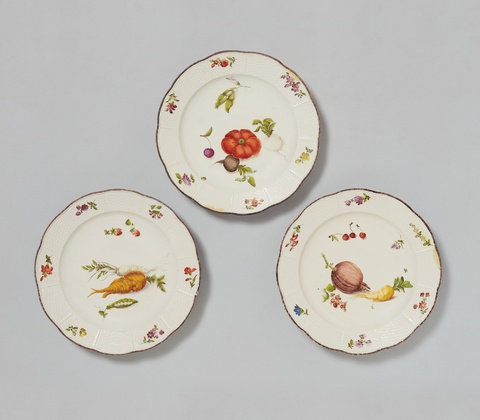 Three Vienna porcelain plates with fruit and vegetable decor -