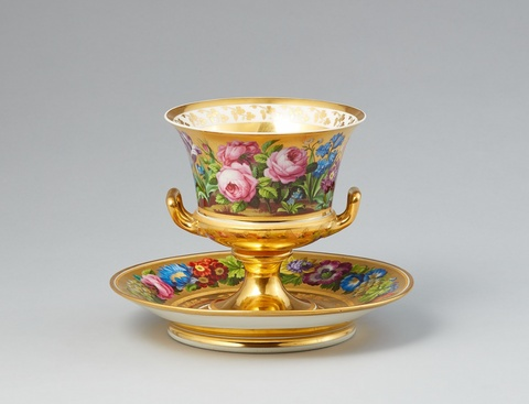 A Vienna porcelain vase and stand with fleurs en terrasse -