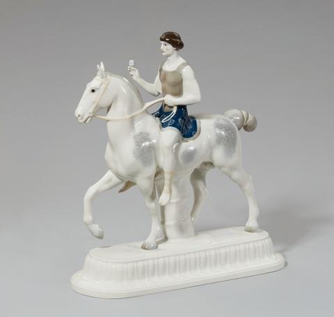 Der Bräutigam als römischer Krieger zu Pferd -