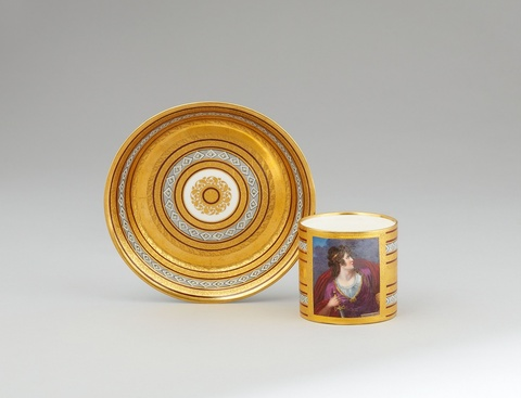 A Vienna porcelain cup and saucer with a depiction of Adelaide from Lotario -