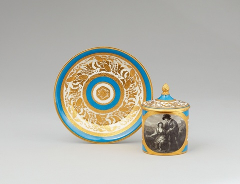 A Vienna porcelain cup and cover with Palemon and Lavinia -