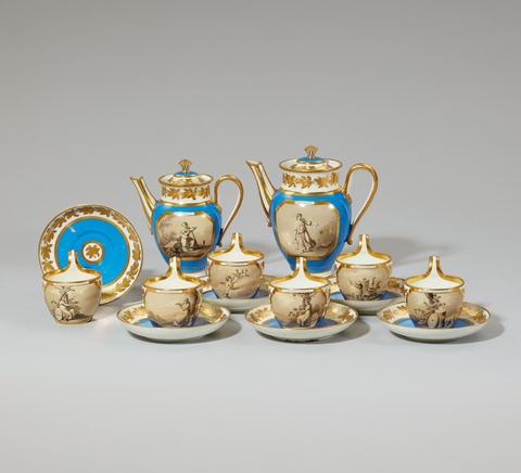 A Vienna porcelain coffee service with allegorical scenes -