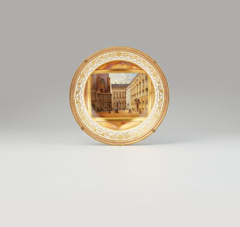 A Vienna porcelain plate with a view of Minoritenplatz -