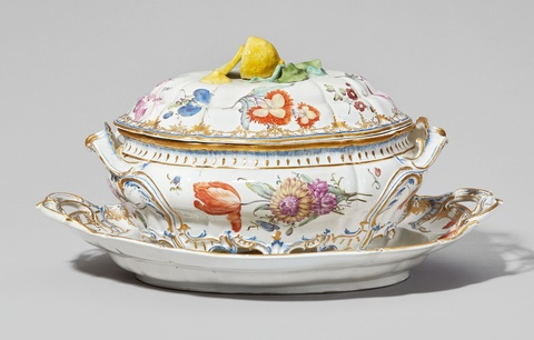 A Nymphenburg porcelain tureen with original stand  -
