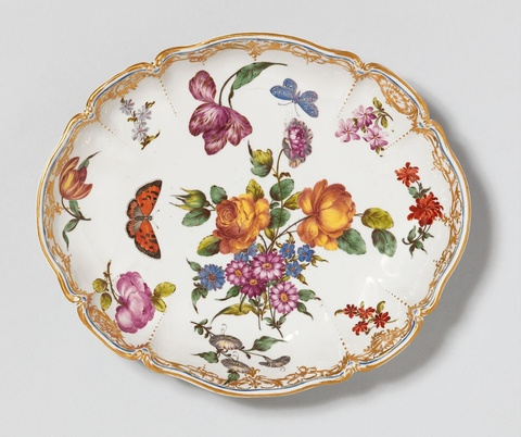 An oval Nymphenburg porcelain dish related to the court service -