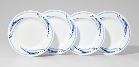 Four Meissen porcelain dinner plates by Henry van de Velde -