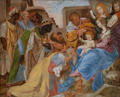 A Italian reverse glass painting of the Adoration of the Magi -