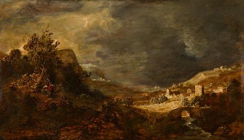 Govaert Flinck, zugeschrieben - Landschaft mit Steinbrücke