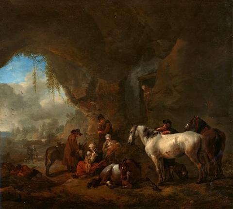 Philips Wouwerman - Reisende bei der Rast in einer Felsgrotte