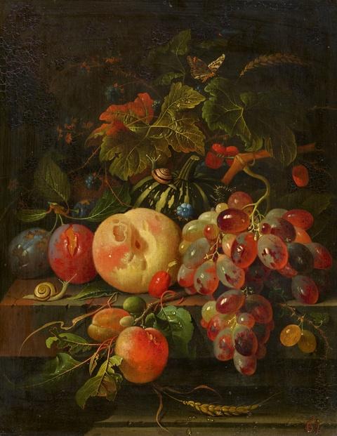 Abraham Mignon - Stillleben mit Kürbis, Pfirsich, Zwetschgen, Trauben und Insekten