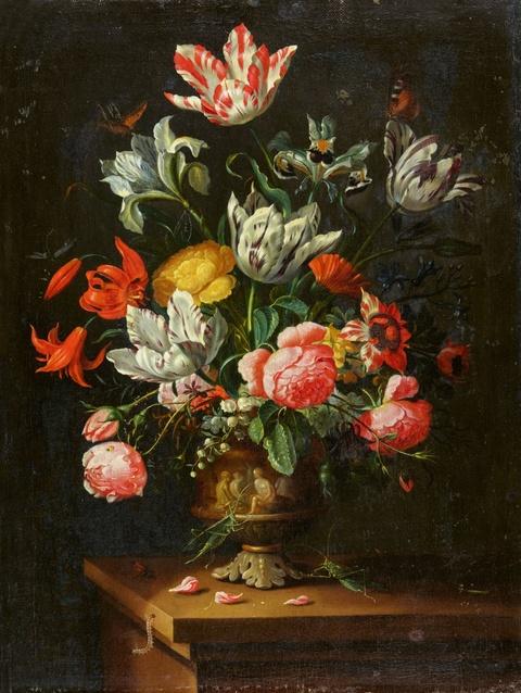 Jean-Baptiste Morel - Blumenstillleben mit Rosen, Tulpen und Lilie auf einer Tischplatte mit Raupe