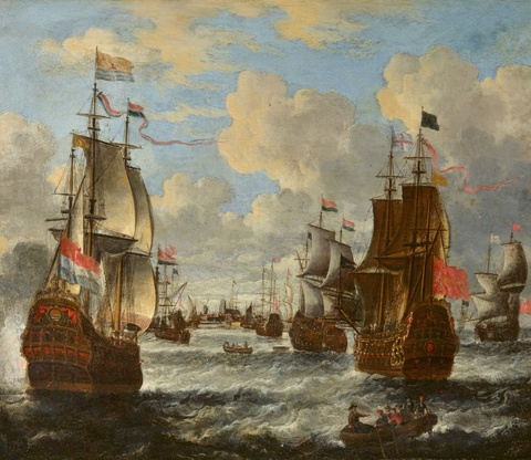 Pieter van den Velde - Ships on Rough Seas near Dordrecht