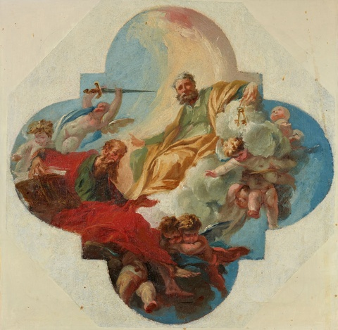 Sebastiano Ricci, attributed to - Saints Peter and Paul in Glory