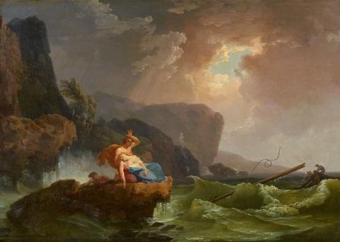 Claude-Joseph Vernet, Umkreis - Küstenlandschaft mit Schiffswrack und Schiffsbrüchigen