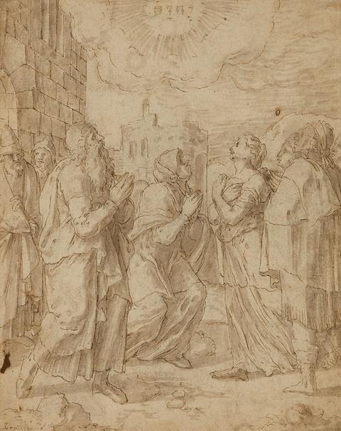 Karel van Mander, Umkreis - Anna und Joachim vor der goldenen Pforte