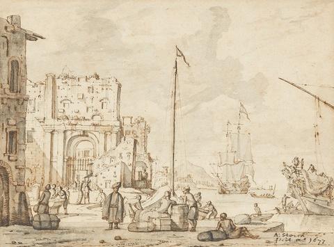 Abraham Storck - Two Harbour Scenes