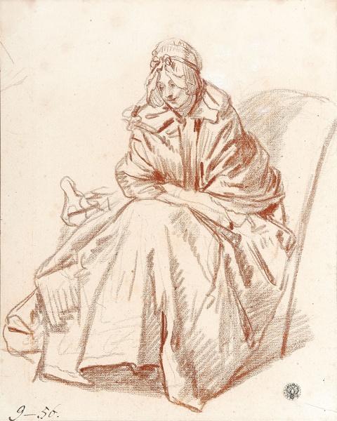 Jean-Baptiste Greuze - Auf einem Stuhl sitzende Frau