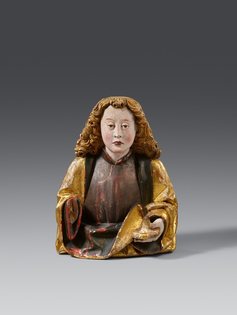 Probably Swabia around 1500 - A carved wooden figure of Saint John, presumably Swabian, around 1500