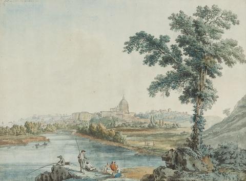 Jacob Philipp Hackert - Blick auf den Tiber und Sankt Peter in Rom