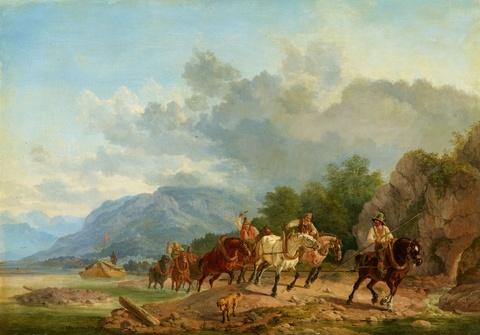 Heinrich Bürkel - Treidler ziehen ein Schiff stromaufwärts