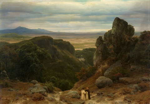 Carl Friedrich Lessing - Landscape with a Castle and Two Monks
