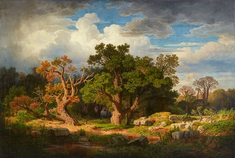 Andreas Achenbach - Large landscape with cork oaks