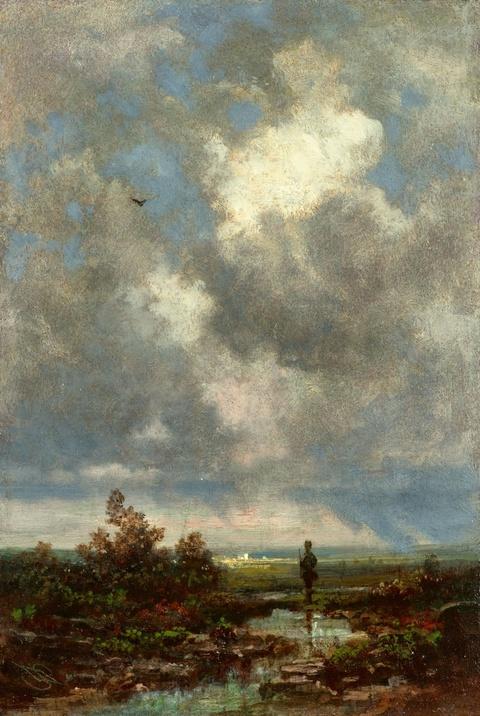 Carl Spitzweg - Landschaft mit Jäger