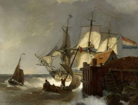 Andreas Achenbach - Sailing Ships on the Coast