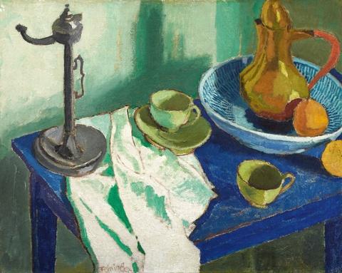 Lyonel Feininger - Stilleben auf blauem Tisch