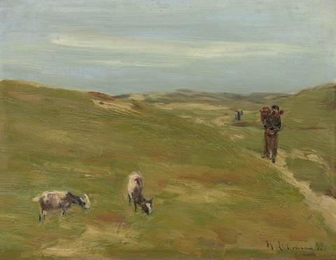 Max Liebermann - Dünen mit Bauer und grasenden Ziegen