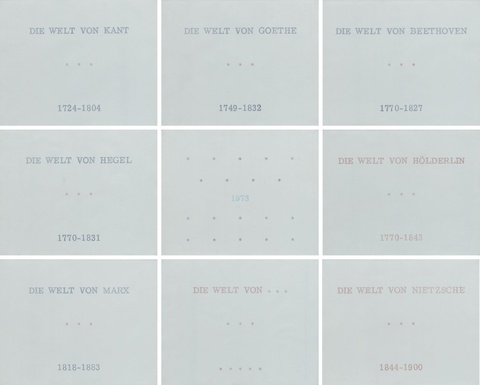 Marcel Broodthaers - Série de neuf tableaux en langue allemande, Die Welt