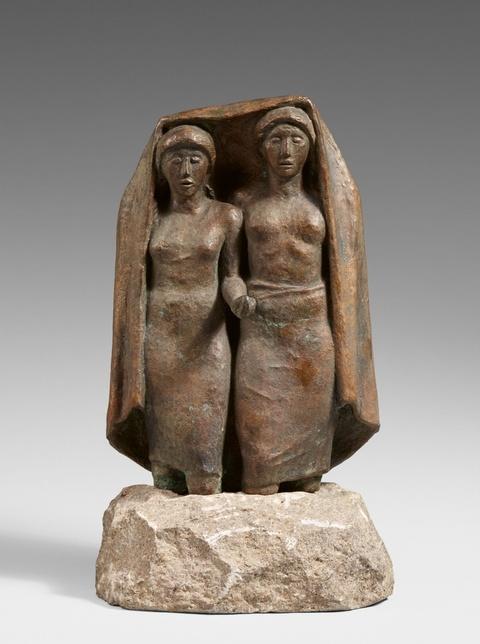 Hermann Blumenthal - Zwei Mädchen mit Tuch im Wasser stehend (Singende Mädchen im Wasser stehend). Entwurf für die Wasserwerke Berlin-Charlottenburg