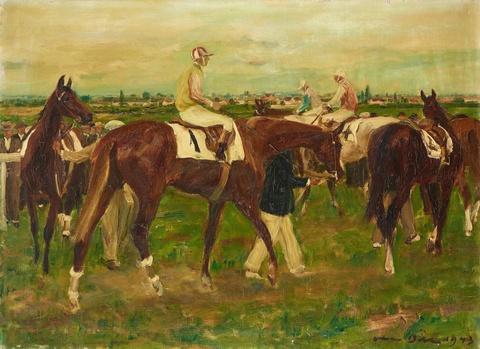 Otto Dill - Jockeys vor dem Rennen