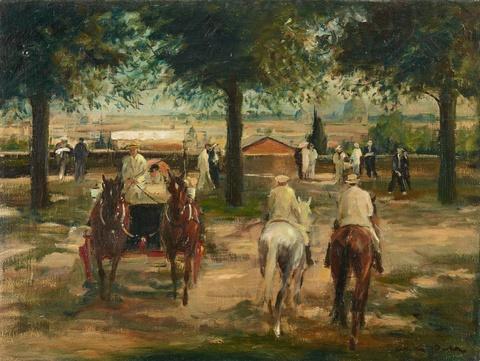 Otto Dill - Ansicht von Rom mit Kutsche und Reitern