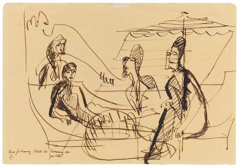 Ernst Ludwig Kirchner - Mann und Frau im Gespräch unter einem Sonnenschirm (Balkonszene). Verso: Variation derselben Szene