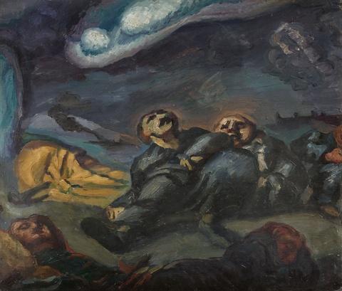 Ludwig Meidner - Ohne Titel (Drei liegende und hockende Figuren unter freiem Himmel). Verso: Gehende und sitzende Figur)