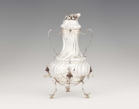 An Augsburg silver coffe urn -