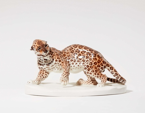 A Nymphenburg porcelain model of a panther -