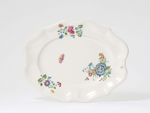 "A Höchst faience platter with ""fleurs des indes"" -"