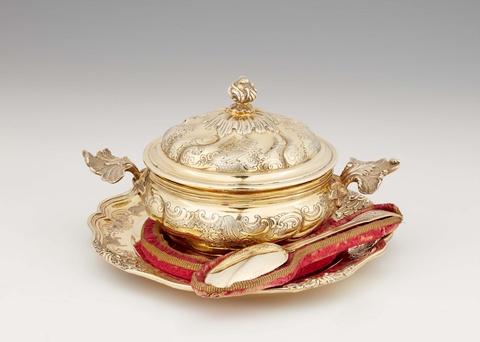 An Augsburg silver gilt childbed garniture -