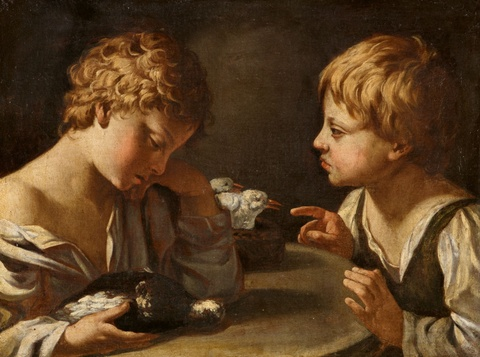 Bologneser Meister Anfang 17. Jahrhundert - Zwei Knaben mit Tauben