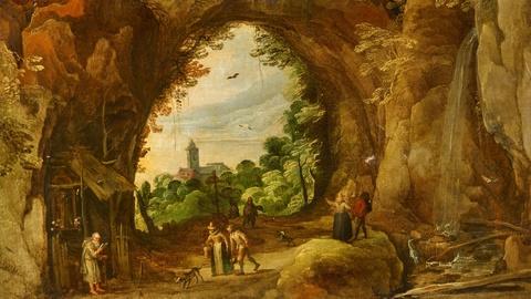 Joos de Momper Jan Brueghel d. J. - Grottenlandschaft mit Einsiedelei