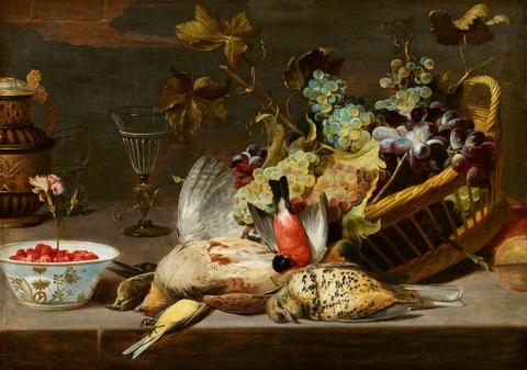 Frans Snyders - Stillleben mit Vögeln und Traubenkorb