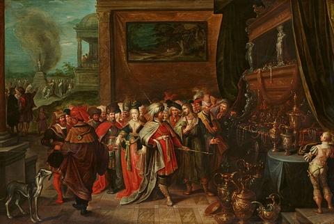 Frans Francken the Younger Cornelis de Baellieur the Elder - Croesus Showing his Treasures to Solon