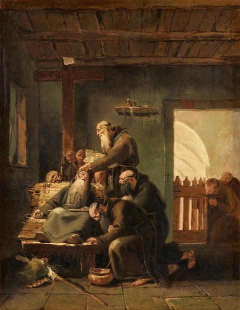 Giovanni Battista Tiepolo - Innenraum mit Kapuzinermönchen am Sterbebett eines Ordensbruders