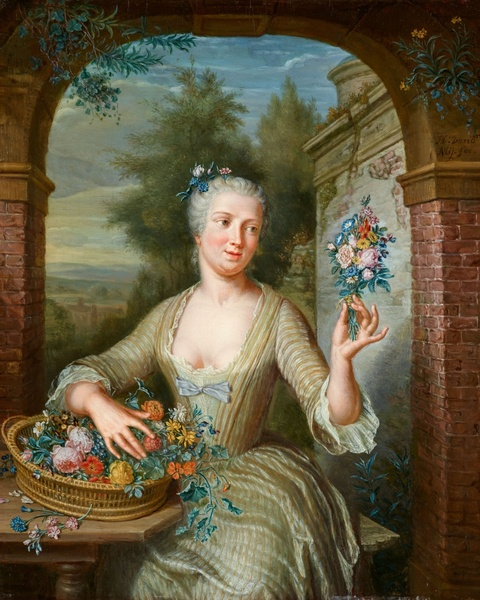 George van der Mijn - Young Lady with a Basket of Flowers by an Arch