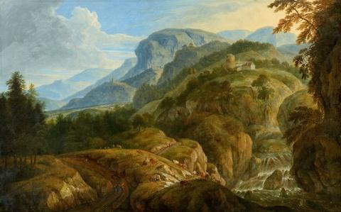 Deutscher Künstler um 1800 - Weite Gebirgslandschaft mit Staffage und Bauten