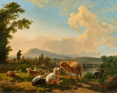 Balthasar Paul Ommeganck - Landschaft mit Hirten und Schafen