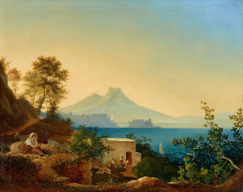 Ludwig Richter - The Bay of Naples with a View of the Castel dell'ovo and Vesuvius